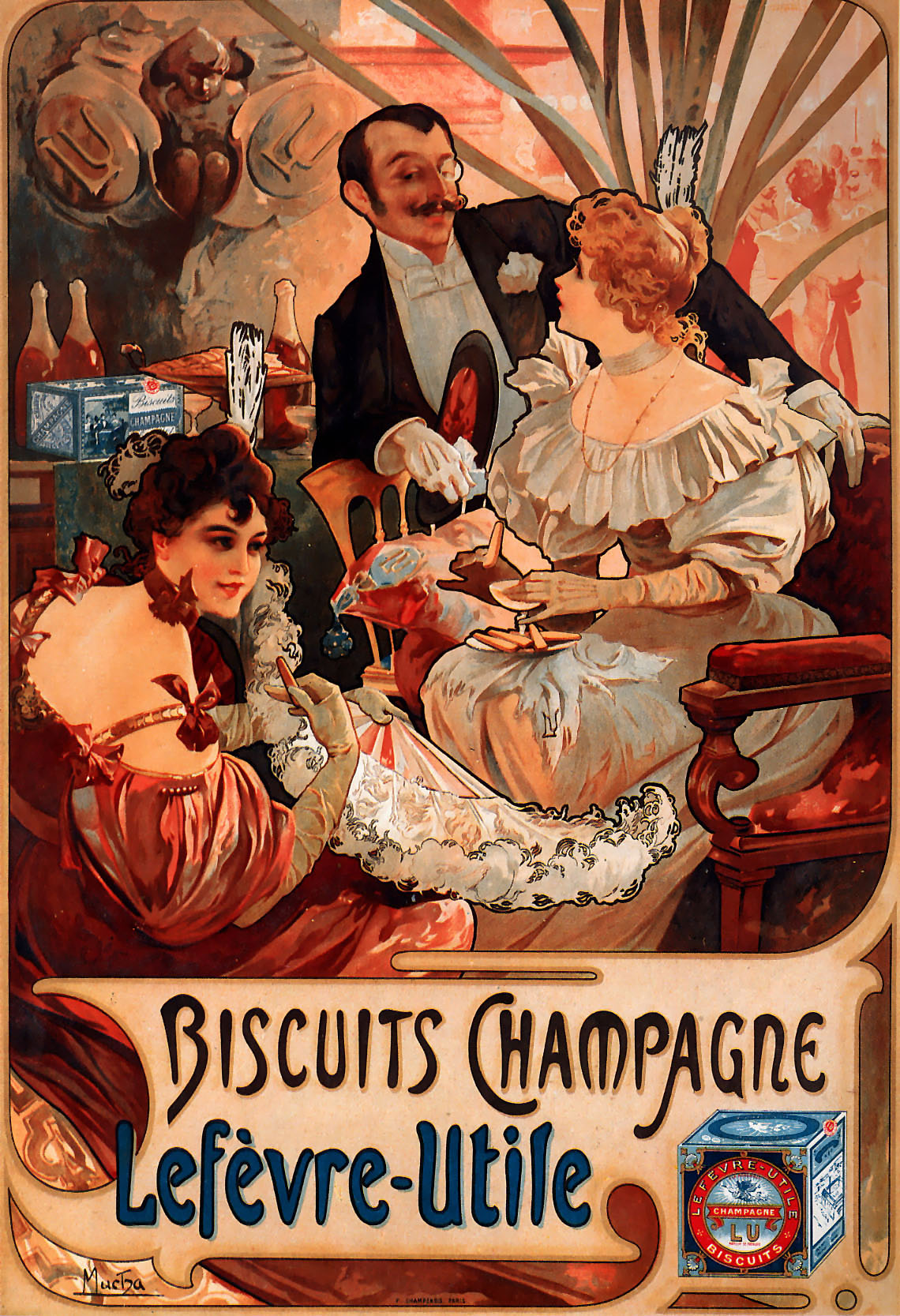 Mucha, Biscuits Champagne Lefèvre-Utile, 1986