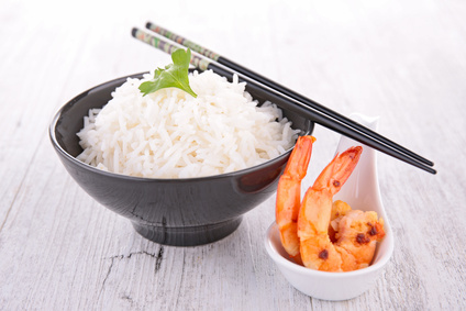 rice and fried shrimp